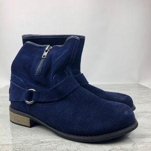 Restricted Blue Suede Ankle Boots